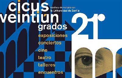 Cartel del ciclo estival 21 Grados 2021 del Centro de Iniciativas Culturales de la Universidad de Sevilla (CICUS)