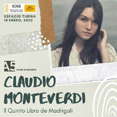 Cartel del concierto Monteverdi de A5 vocal ensemble en el Espacio Turina de Sevilla 2020
