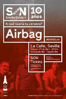 Cartel del concierto de Airbag en sala La Calle Sevilla 2019