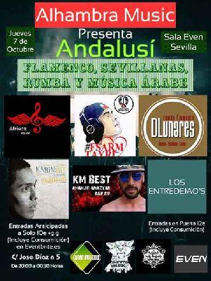 Cartel del concierto Andalusí (flamenco y música árabe) en la Sala Even Sevilla 2021