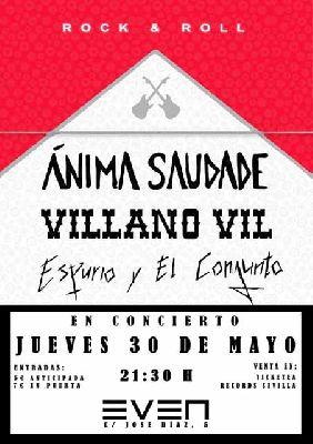 Cartel del concierto de Ánima Saudade, Villano Vil y Espurio y El Conjunto en la Sala Even Sevilla 2019