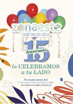 Cartel del XV aniversario del Centro Comercial Zona Este Sevilla