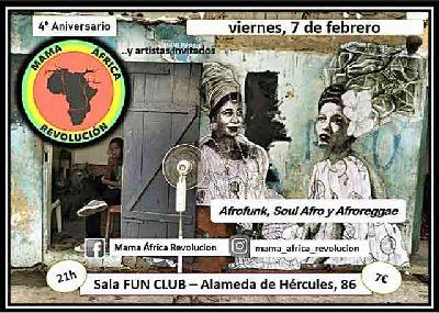 Cartel del concierto 4º aniversario Mamá África Revolución en FunClub Sevilla 2020