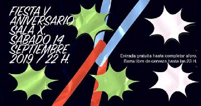 Cartel de la fiesta V Aniversario de la Sala X de Sevilla 2019
