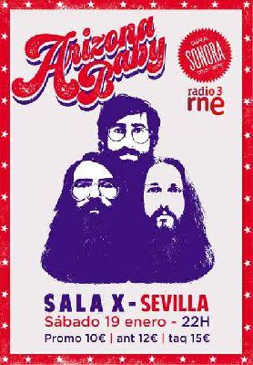 Cartel del concierto de Arizona Baby en la Sala X de Sevilla