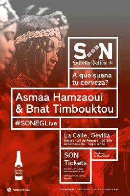Cartel del concierto de Asmaa Hamzaoui & Bnat Timbouktou en sala La Calle Sevilla 2020