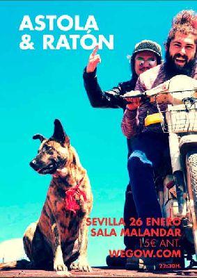 Cartel del concierto de Astola y Ratón en Malandar Sevilla 2019