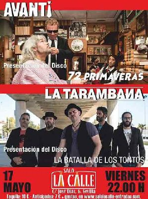 Cartel del concierto de Avanti y La Tarambana en sala La Calle Sevilla 2019