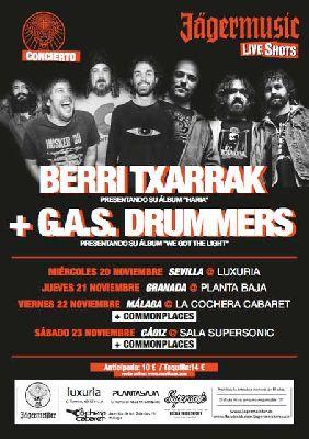 Concierto: Berri Txarrak y G.A.S. Drummers en Malandar Sevilla