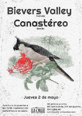 Cartel del concierto de Bievers Valley y Canastéreo en sala La Calle Sevilla 2019