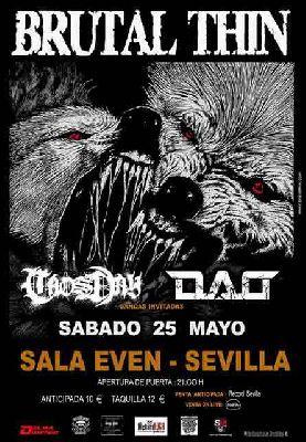 Cartel del concierto de Brutal Thin en la Sala Even Sevilla 2019