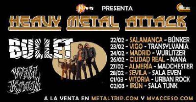 Cartel de la gira Heavy Metal Attack de los grupos Bullet y Wild Krash 2019