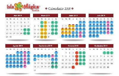 Imagen del calendario de la temporada 2019 de Isla Mágica Sevilla