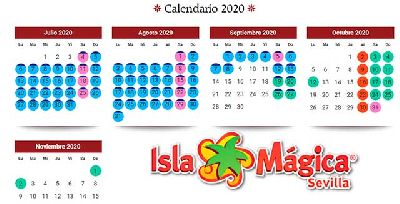 Imagen del calendario de la temporada 2020 de Isla Mágica Sevilla