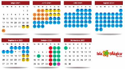 Imagen del calendario de la temporada 2021 de Isla Mágica Sevilla