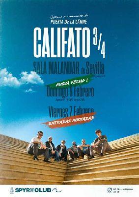 Cartel del concierto de Califato 3/4 en Malandar Sevilla 2020