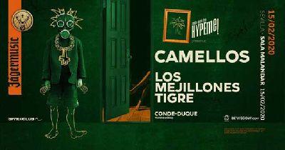 Cartel del concierto de Camellos y Los Mejillones Tigre en Malandar Sevilla 2020