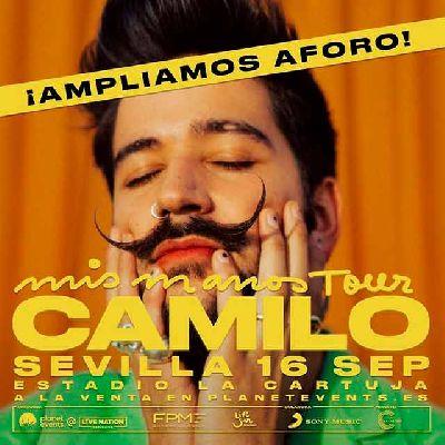 Cartel del concierto de Camilo de la gira Mis manos Tour en Sevilla 2021