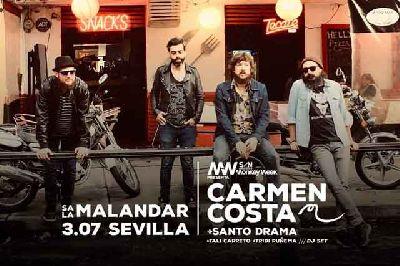 Cartel del concierto de Carmen Costa y Santo Drama en Malandar Sevilla 2019