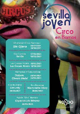 Cartel del ciclo Circo Joven por Barrios en Sevilla 2021