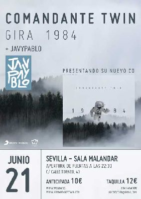 Cartel del concierto de Comandante Twin y Javypablo en Malandar Sevilla 2019