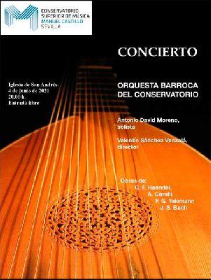 Cartel del concierto de la Orquesta Barroca del Conservatorio Manuel Castillo (junio 2021)