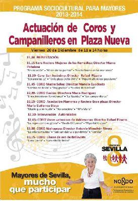 Coros y campanilleros en la Plaza Nueva de Sevilla