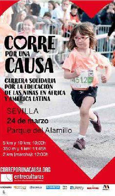 Cartel de la carrera solidaria de Entreculturas Corre por una causa 2019