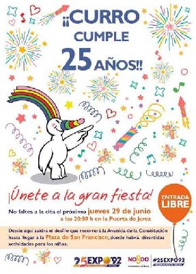 Curro cumple 25 años con desfile y actividades infantiles en Sevilla