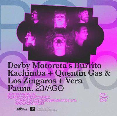 Cartel del concierto de Derby Motoreta's Burrito Kachimba y Quentín Gas en Pop CAAC Sevilla 2019