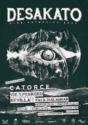 Cartel del concierto de Desakato y Catorce en Malandar Sevilla 2019