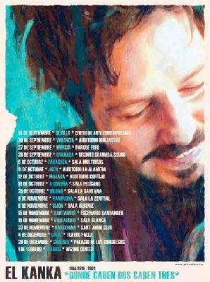 Cartel de los conciertos de la gira Donde caben dos caben tres de El Kanka