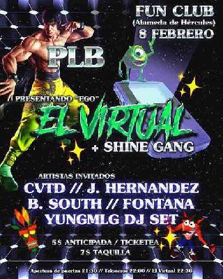 Cartel del concierto de El Virtual + Shine Gang en FunClub Sevilla 2019