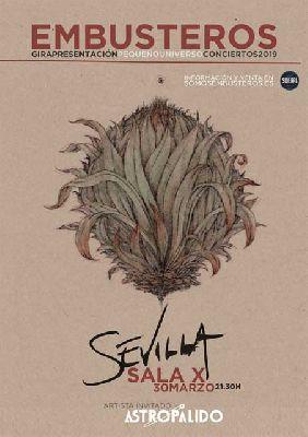 Cartel del concierto de Embusteros y Astropálido en la Sala X de Sevilla