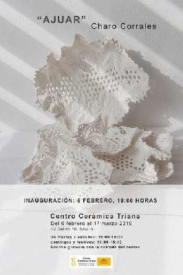 Cartel de la exposición temporal Ajuar de Charo Corrales en el Centro de la Cerámica de Triana de Sevilla