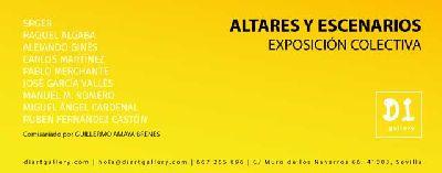 Cartel de la exposición Altares y escenarios en Di Gallery de Sevilla