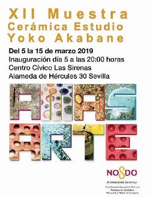 Cartel de la exposición Amasarte XII Muestra cerámica del estudio de Yoko Akabane en la Casa de las Sirenas de Sevilla