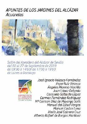 Cartel de la exposición Apuntes de los jardines del Alcázar en el Alcázar de Sevilla