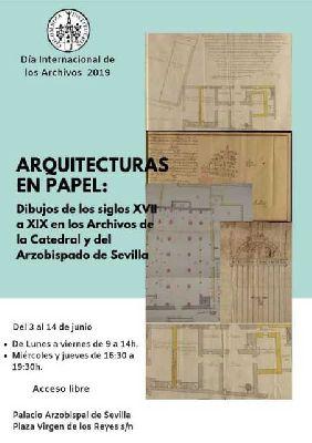 Cartel de la exposición Arquitecturas en papel en el Palacio Arzobispal de Sevilla
