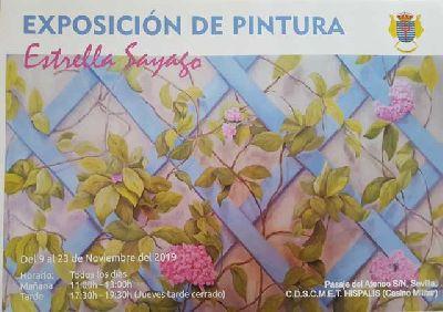Cartel de la exposición de pintura de Estrella Sayago en el Casino Militar Híspalis de Sevilla
