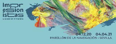 Cartel de la exposición Impresionistas en el Pabellón de la Navegación de Sevilla 2020-2021