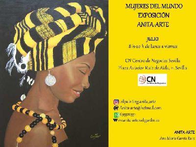 Cartel de la exposición Mujeres del mundo de Anita-Arte en Sevilla 2019