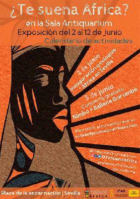 Cartel de la exposición ¿Te suena África? en el Antiquarium Sevilla 2021