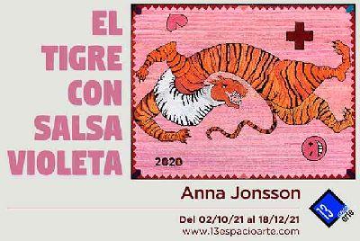 Cartel de la exposición El tigre con salsa violeta