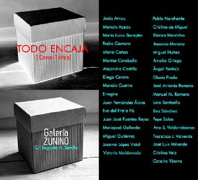Cartel de la exposición Todo encaja en la Galería Zunino de Sevilla