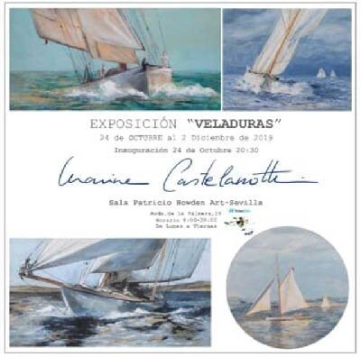 Cartel de la exposición Veladuras de Marina Castelanotti