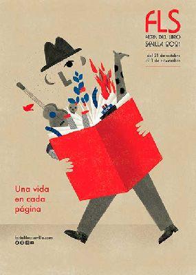 Cartel de la ilustradora Neus Caamaño para la Feria del Libro de Sevilla 2021