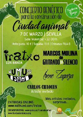 Cartel del Festival a beneficio de Ciudad Animal en Malandar Sevilla (marzo 2019)