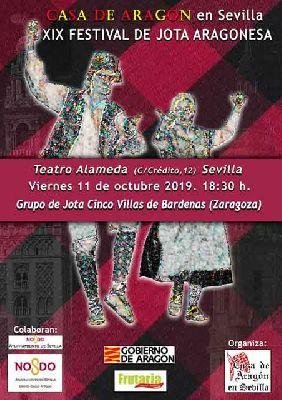 Cartel del XIX Festival de Jota Aragonesa en el Teatro Alameda de Sevilla 2019