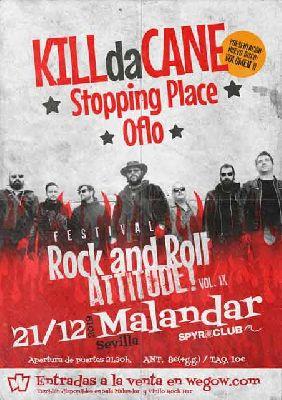 Cartel del concierto Rock and Roll Attitude! en Malandar Sevilla (diciembre 2019)